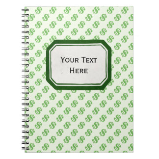 Dollar Signs on Green with Label Notebooks