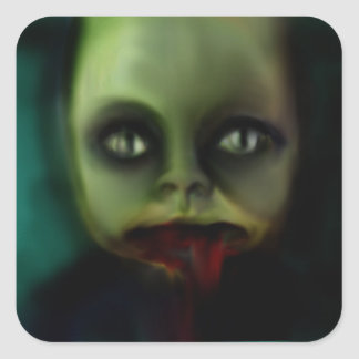 dolly death haunted doll products square sticker