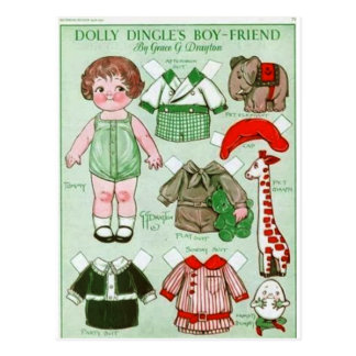 Dolly Dingle's Boy Friend Paper Doll Postcard