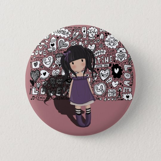 Dolly girl in purple 2 inch round button