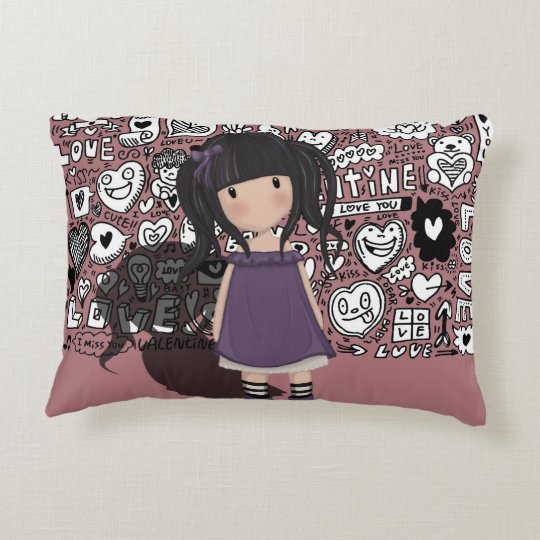 Dolly girl in purple accent pillow