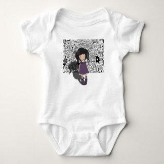 Dolly girl in purple baby bodysuit