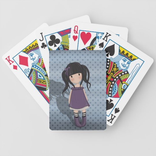 Dolly girl in purple bicycle playing cards