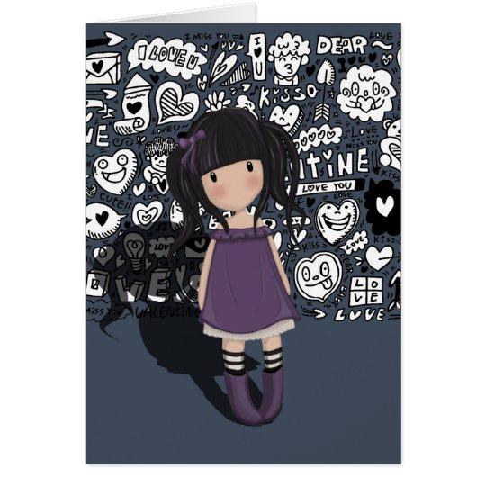 Dolly girl in purple card