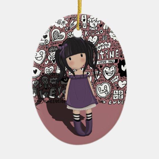 Dolly girl in purple ceramic ornament