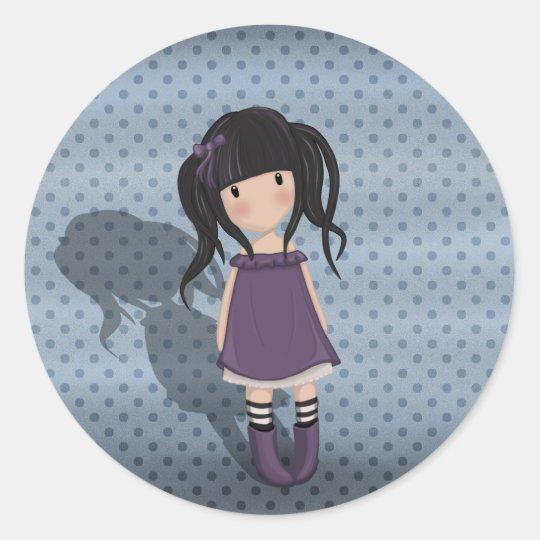 Dolly girl in purple classic round sticker