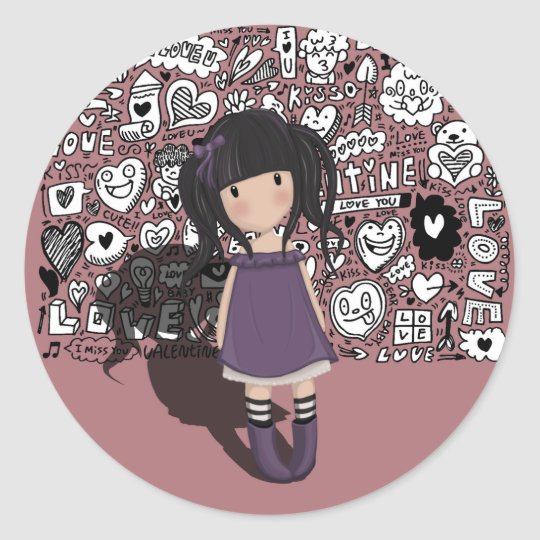 Dolly girl in purple classic round sticker