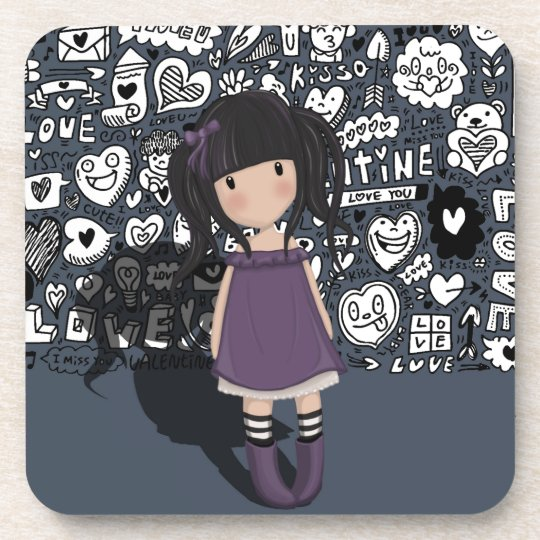 Dolly girl in purple coaster