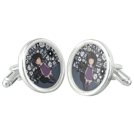 Dolly girl in purple cuff links