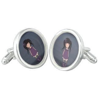Dolly girl in purple cufflinks