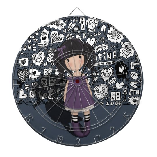 Dolly girl in purple dartboard