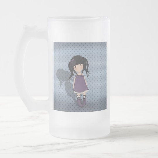 Dolly girl in purple frosted glass beer mug
