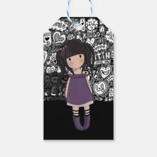Dolly girl in purple gift tags