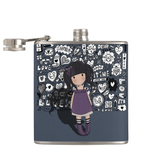 Dolly girl in purple hip flask