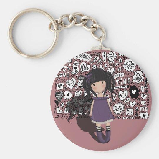 Dolly girl in purple keychain