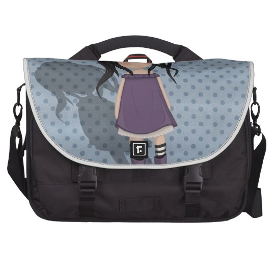 Dolly girl in purple laptop bag