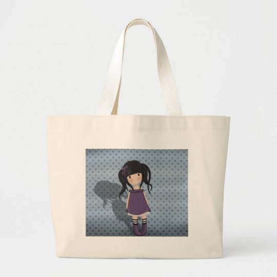 Dolly girl in purple large tote bag