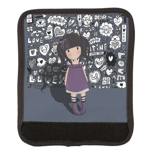 Dolly girl in purple luggage handle wrap