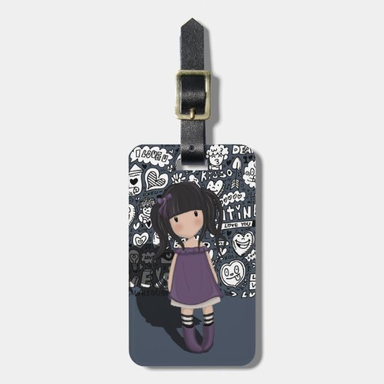 Dolly girl in purple luggage tag