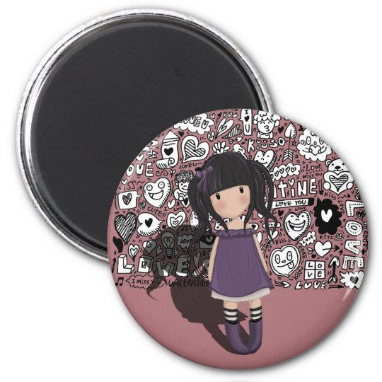 Dolly girl in purple magnet