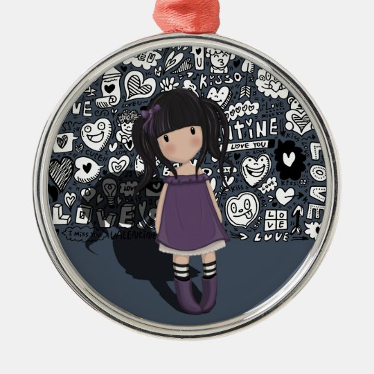 Dolly girl in purple metal ornament