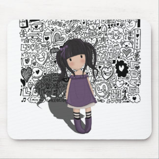 Dolly girl in purple mouse pad