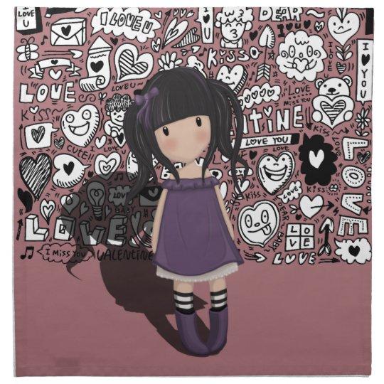 Dolly girl in purple napkin