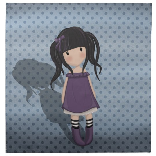 Dolly girl in purple napkin