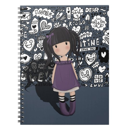 Dolly girl in purple notebooks