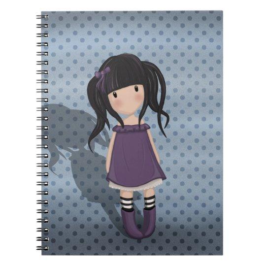 Dolly girl in purple notebooks