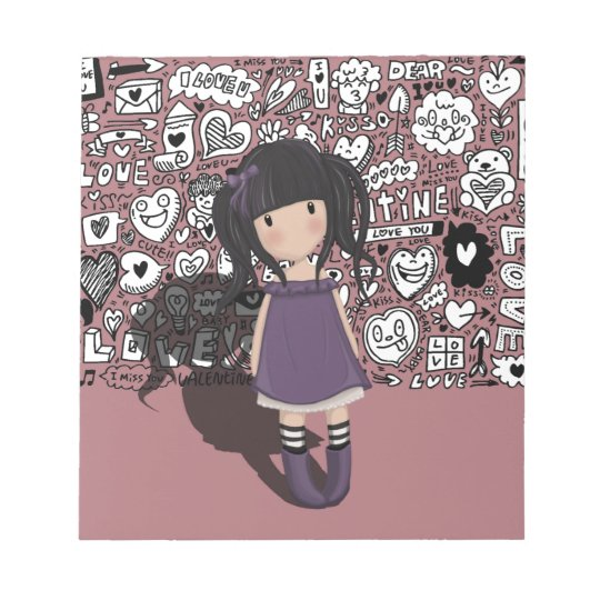 Dolly girl in purple notepad