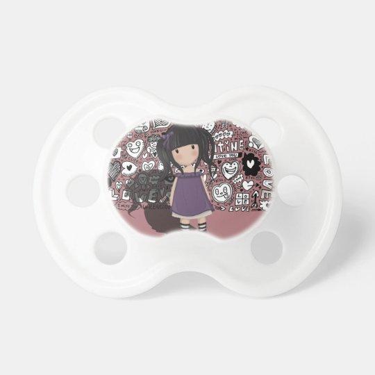 Dolly girl in purple pacifier