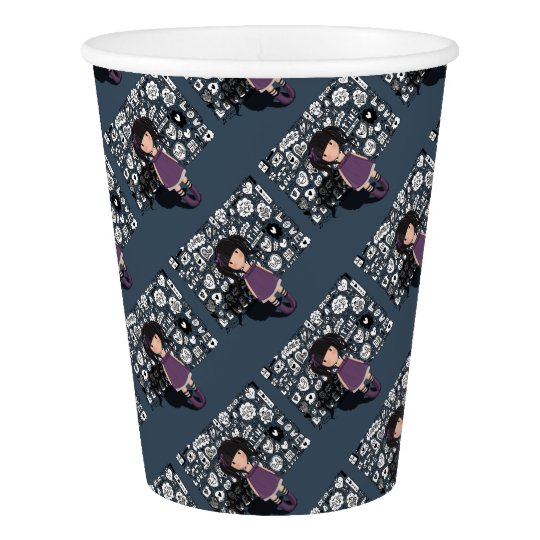 Dolly girl in purple paper cup