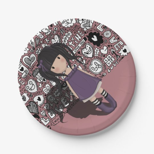 Dolly girl in purple paper plate