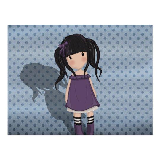 Dolly girl in purple postcard