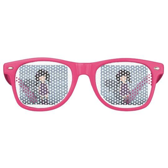 Dolly girl in purple retro sunglasses