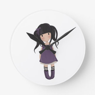 Dolly girl in purple round clock