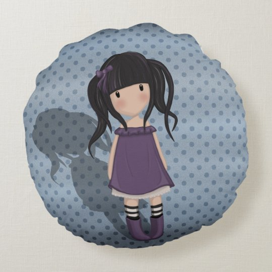 Dolly girl in purple round pillow