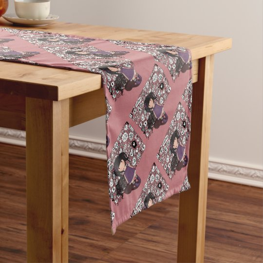 Dolly girl in purple short table runner