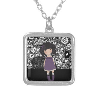 Dolly girl in purple silver plated necklace