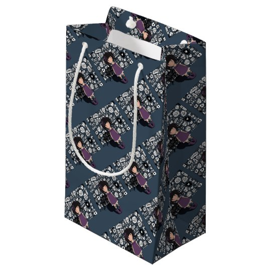 Dolly girl in purple small gift bag