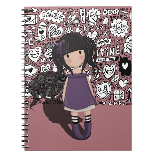 Dolly girl in purple spiral notebook
