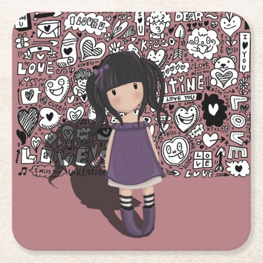 Dolly girl in purple square paper coaster