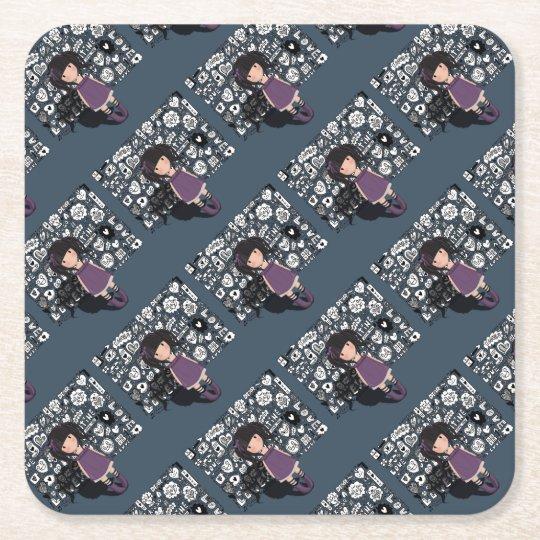 Dolly girl in purple square paper coaster