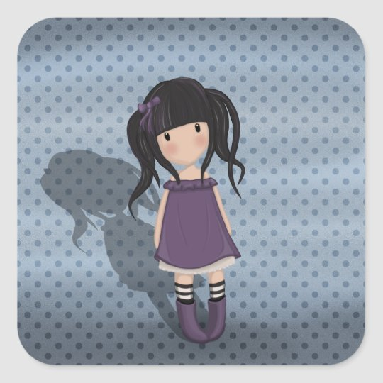 Dolly girl in purple square sticker