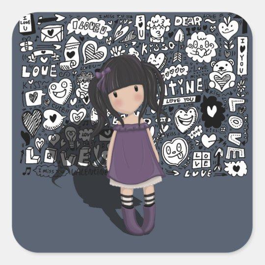 Dolly girl in purple square sticker
