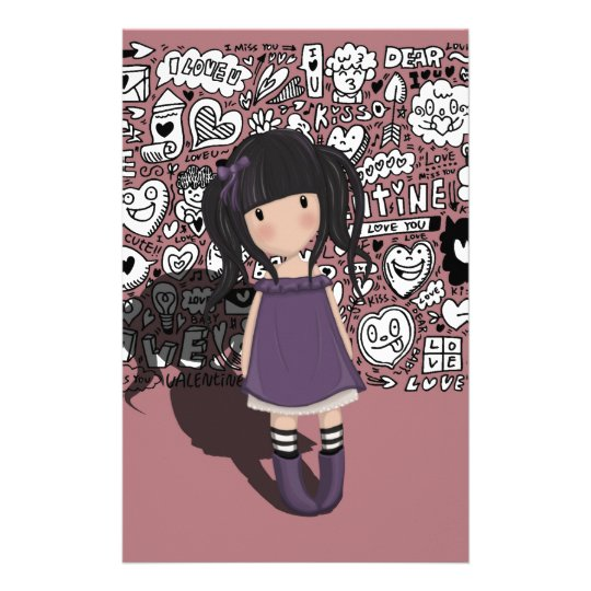 Dolly girl in purple stationery