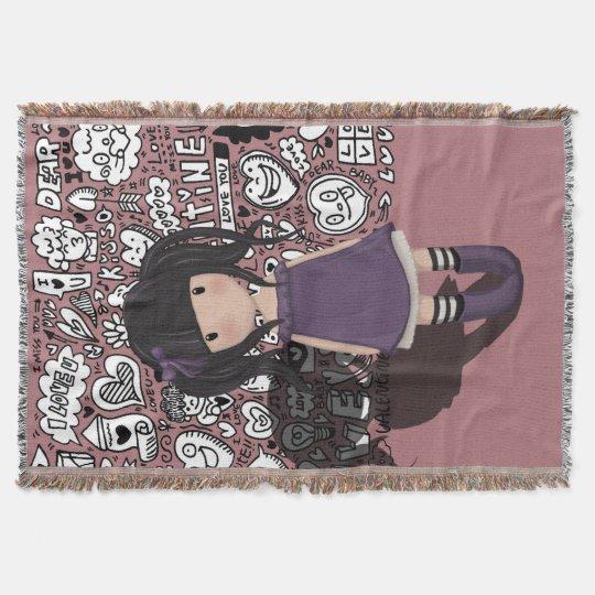 Dolly girl in purple throw blanket