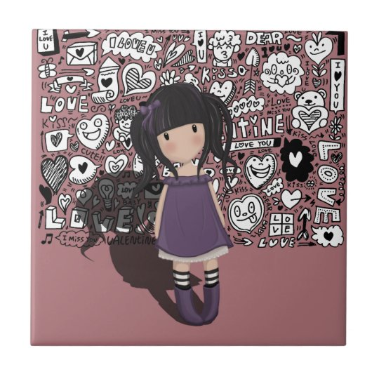 Dolly girl in purple tile