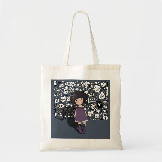 Dolly girl in purple tote bag